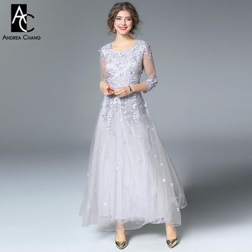 Spring summer runway designer woman dresses gray red party event dress ball gown beading flower applique embroidery long dress
