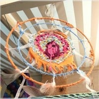 Pink, orange and blue rag one of a kind dream catcher