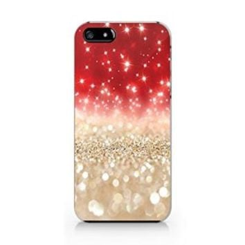 Red Sparkling Plastic Phone Case for iphone 5 5s