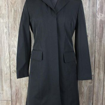 Nice Ann Taylor Trench Coat Jacket 4 S size Black Career Casual Fitted Womens Lined