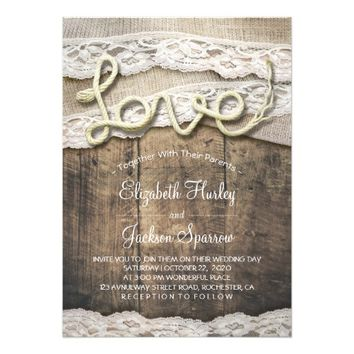 Rustic Country Love Rope Burlap Lace Barn Wedding Card