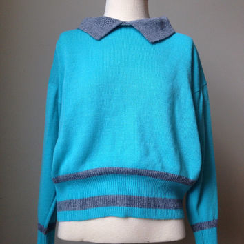Vintage Turquoise Sweater with oversized collar grey trim 60s stretchy knit Shirt Blue