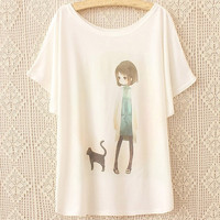White Batwing Short Sleeves Comic Girl&Black Kitty Print T-shirt One Size = 1945670596