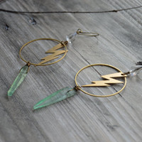 Lightning bolt hoop earrings with Green crystal quartz and crystal teardrop, Dangle drop earring, Hoop earrings, Crystal earrings, Boho