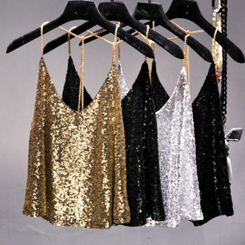 2017 Summer sexy Supper metal chain blingbling sequins halter camis women short loose backless metallic shiny camisole strap top