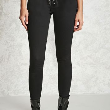 Lace-Up Twill Skinny Pants