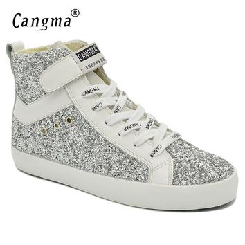 CANGMA Luxury Brand Sneakers Women Glitter Shoes Woman's Boots Genuine Leather Female Ankle Boots Handmade Silver Casual Shoes