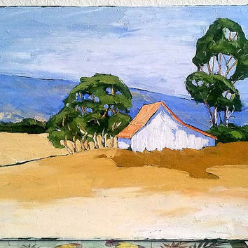 Impressionist Painting CALIFORNIA Plein Air FARM Barn EUCALYPTUS Landscape Art 16x20 Free Shipping Lynne French