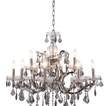 Elena Pendant Lamp D:26in H:25.5in Lt:12 Polished Nickel Finish Royal Cut Silver Shade (Grey)