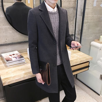 2016 Fashion Autumn Solid Woolen Trench Coat Men three Buttons Blazer Collar Design X-long Coat Men Long Pea Coat Manteau Homme