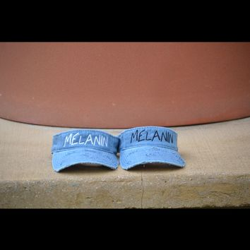 Denim distressed melanin visor