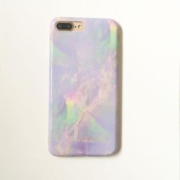 Neon Iridescent Marble iPhone Case