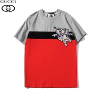GUCCI Tide brand fashion stickers three little pig pattern color matching short-sleeved T-shirt grey