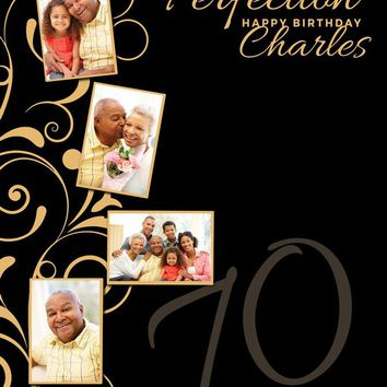 Custom 60TH Birthday Photo Backdrop Banner Gold Black (ANY TEXT) 50th 40th 30th Anniversary, Graduation - C0124