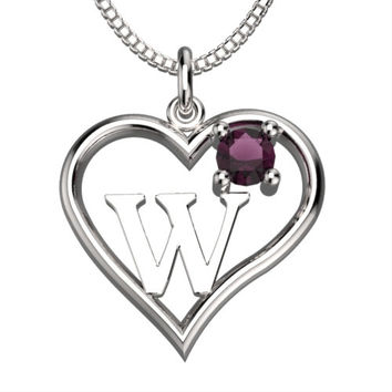 "BirthStone  Heart Letter W Sterling Silver Pendant &18"" Necklace June Alexandrite"