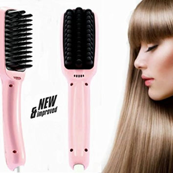 Hair Brush Straightener-Anti Static Ceramic Heating Detangling Hair Comb-Instant Silky Straight Hair Styling Straightening Iron PTC Heating 2.0 Anion for Faster Straightening (Pink)