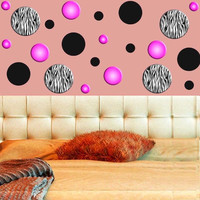 Zebra Stripe Wall Decals Polka Dots Zebra Print Circles Pink Girls Room Decor...