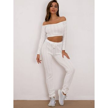 Joyfunear Off Shoulder Crop Top & Drawstring Joggers Set