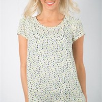 Spring Petal Blouse - Green Drops