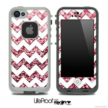 White Chevron Pink Glimmer Skin for the iPhone 5 or 4/4s LifeProof Case