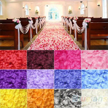 100pcs Silk Rose Flower Petals Leaves Wedding Table Decorations Event Party Supplies Multi Color Wreaths