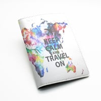 PU Leather Passport Holder Case Cover Travel Wallet -- Colorful World map design, Keep calm and travel on, or custom quote text (L69)