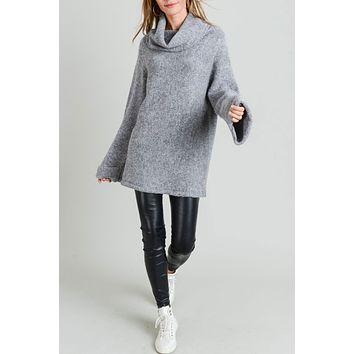 Oversized Cowl Neck Tunic Sweater