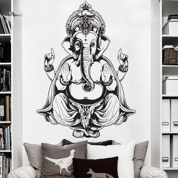 DCTOP Ganesha Elephant Buddha Mandala Yoga Wall Stickers Home Decor Vinyl Wall Decals For Living Room