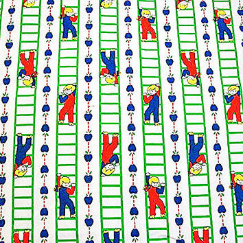 1970s Fabric Kids Juvenile Novelty Cotton Fabric w/children playing climbing ladder