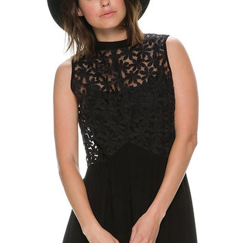 Black Embroidered A-line Chiffon Dress