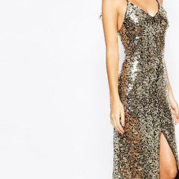 Gold Spaghetti Strap Backless Sequined Split Maxi Dress