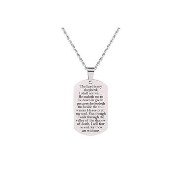 Solid Stainless Steel Scripture Tag Necklace  - Psalm 23