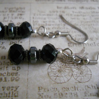 Modern Black Glass Earrings Steel Gray Hematite Silver Czech Glass Beaded Jewelry