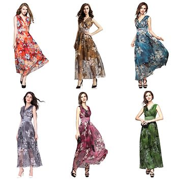 V-Neck Floral Long Chiffon Dress, US Sizes 0 - 18 (XS - XL)