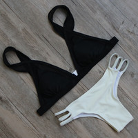 Solid Bandage Swimsuit Bikini Set