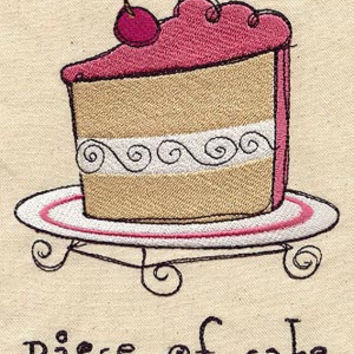 Piece of Cake embroidered Apron by MorningTempest on Etsy