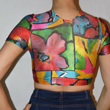 Multicolor crop top 90s disco Rainbow Bodycon top Elastic leotard Spandex Aerobics Summer crop top