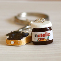 Nutella Miniature polymer clay keychain with tiny knife by Zoozim