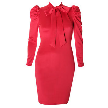 Blouse Neck Suiting Dress, Red