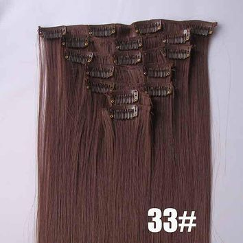 33# Bath&Beauty clip in synthetic hair extensions 7pcs/set,90grams hairpieces clip in hair 7pcs Straight hair,curly hairpiece,Hair Care,fashion COSPLAY ombre 1PC