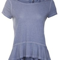 New Look Mobile | Blue Washed Drop Peplum T-Shirt