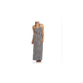No Boundaries Juniors Bead Trim Halter Maxi Dress, Black/White, Medium