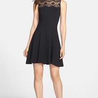 Jessica Simpson Lace Yoke Ponte Fit & Flare Dress | Nordstrom