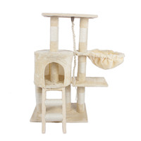 TWO-LAYER Pet Cat Scratching Post Tree Platform Gym House Condo Furniture Scratcher Poles