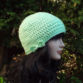 Mint Green Crochet Hat - Womens Beanie with Bow - Ladies Winter Cap - Ski Hat