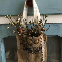 Burlap doorhanger herb basket/herb baskets/burlap decor