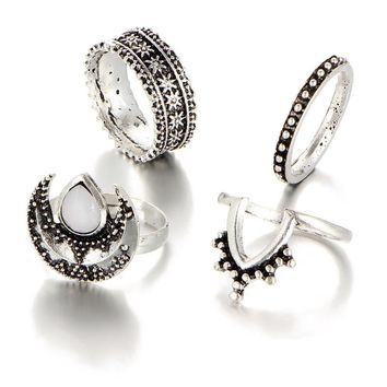 H:HYDE Retro carved Flower exaggerated personality cat eyes natural stone 4pcs/lot Vintage Anel Bague Rings Set For Women