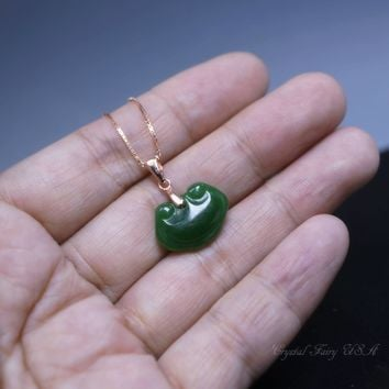 Tiny Green Jade Necklace -  Rose Gold Overlayed Sterling Silver Emerald Retro Locker Green Jade Pendant  - Jade Jewelry