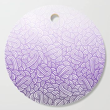 Gradient purple and white swirls doodles Cutting Board by savousepate
