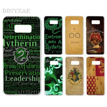 BINYEAE Harry Potter Slytherin School Transparent  Phone Case Cover Cases for Samsung Galaxy S3 S4 S5 S6 S7 S8 S9 Edge Plus Mini